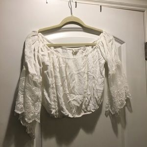LF Off the Shoulder Lace Detailed Crop Top Size S